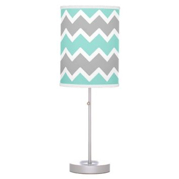 Aqua Blue Gray Grey Chevron Print Pattern Girl Table Lamp
