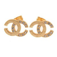 Chanel Woman Fashion Logo Diamonds Stud Earring For Best Gift
