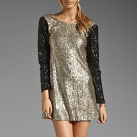 Lovers + Friends Bright Lights Mini Dress in Bronze/Black Sequin from REVOLVEclothing.com