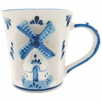 Delft Blue Ceramic Mug: Embossed Holland Windmill