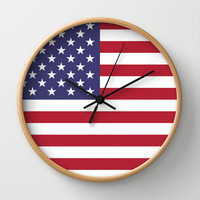 "The national flag of the USA - Authentic Scale ""G-spec"" 10:19 and authentic colors. Wall Clock by LonestarDesigns2020 - Flags Designs +"
