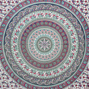 Pink Peacock Indian Mandala Tapestry Hippy throw Elephant tapestries Indian Elephant Bedspread Hippy Coverlet Curtain Bohemian Boho Bedsheet
