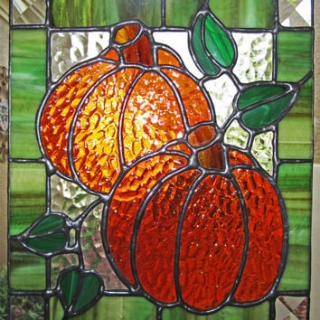 Two Pumpkins Stained Glass Panel - Pumpkin Sun Catcher - Fall Decor - Halloween Decoration - Halloween Pumpkins ~ 7 3/4 inches by 9 inches