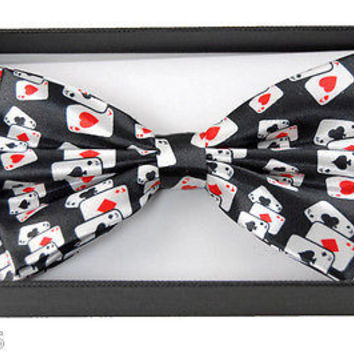 POKER PLAYING CARDS 4 OF A KIND ACES ADJUSTABLE  BOW TIE-ACES BOW TIE-NEW!