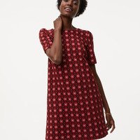Scroll Floral Jacquard Shift Dress | LOFT