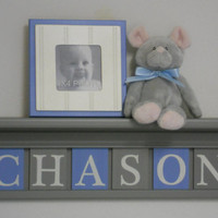 "Baby Boy Room Decoration Name Nursery Decor 30"" Grey Shelf - 6 Wooden Wall Letters Light Blue and Gray - CHASON"
