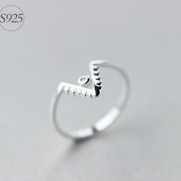 "925 Sterling silver opening ring,silver ""V"" ring,a perfect gift"