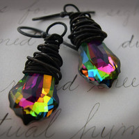 Mardi Gras crystal earrings by ChickpeaDesignStudio