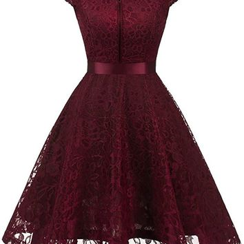 A| Chicloth Women's Vintage 1950s Short Sleeve A-Line Cocktail Party Swing Dress with Floral Lace