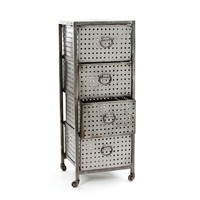 Go Home Four Drawer Industrial Bin Unit - 10589