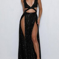 Black Sequin Cut Out Side Slit Deep V-neck Sparkly Cocktail Party Maxi Dress