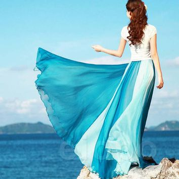 Plus Size Beach Skirts Long Women Skirts New Beach Bohemia Long Chiffon Skirt Sexy Casual Maxi Skirts Free Shipping 2017 Summer