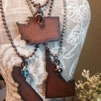 STATE SHAPE with BIRTHSTONE Necklace made of Rustic Rusted Rusty Recycled Metal with painted flower
