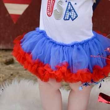 Girls Tutu Dress, 4th of July Outfit, Baby Outfit, patriotic, pettiskirt