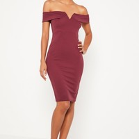Missguided - Burgundy V Front Bardot Midi Dress