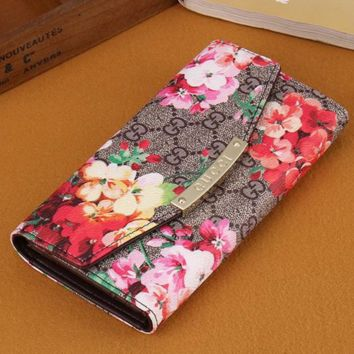 Gucci Women Leather Floral Print Purse Wallet