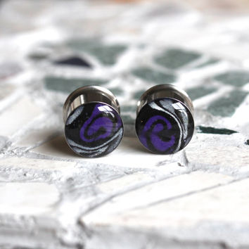 "1/2 Double Flare Plugs, Halloween Plugs, Halloween Gauges, 12mm Plugs, Polymer Clay Plugs, Gauged Earrings - size 1/2"" (12mm)"