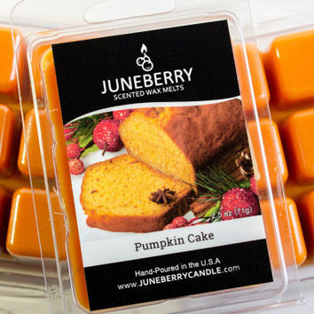Pumpkin Cake Scented Wax Melts - Highly Scented Soy Blend - Six Tarts, Hand Poured By Juneberry Candle - Fall Scent