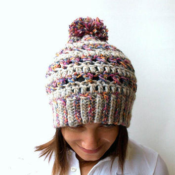 Women chunky crochet hat, Big stitch hat with pom pon, Winter hat, fashion hat, Handmade by Elenis4you, Colorful hat