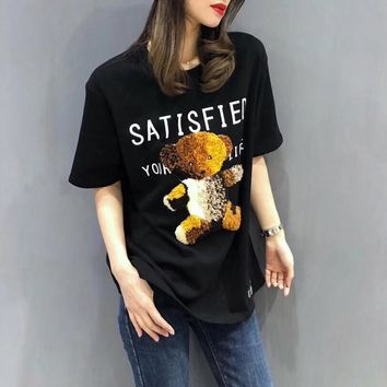 """Gucci"" Women Casual Fashion Letter Bear Pattern Short Sleeve T-shirt Top Tee"