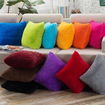Soft Fur Pillow Covers for Sofa Home Cushion Cover Solid Throw Pillow Cases Decorative Pillow Case Plain Blue Red Coffee 45x45cm