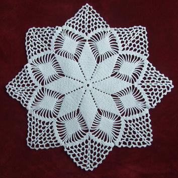Vintage Cotton Crocheted Doily, Hand made White Doily, Lacework, lace, Crochet Doily, Shabby Chic, Made in Poland, Polish folk art 80