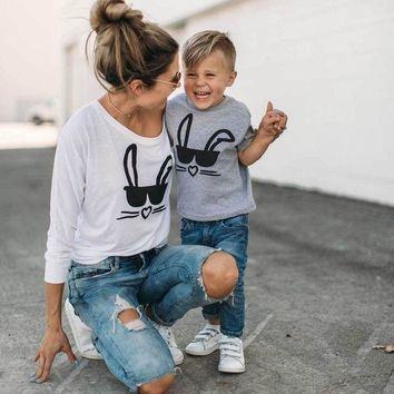 VOND4H mother and daughter son t-shirt family matching shirt  Long Sleeve