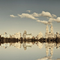 NYC Skyline, New York Photography, Manhattan Reflection, Central Park, Upper West Side, Grey Blue - Manhattan Mirror