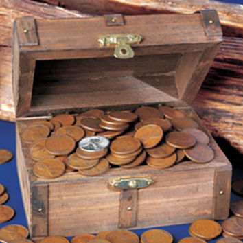 Wooden Treasure Chest Of Wheat Pennies