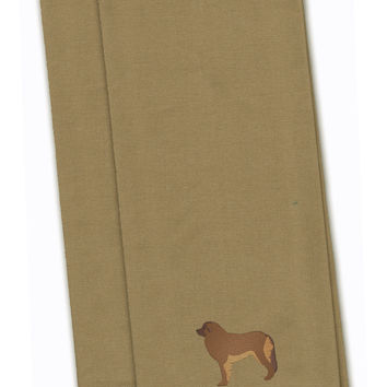 Leonberger Tan Embroidered Kitchen Towel Set of 2 BB3458TNTWE