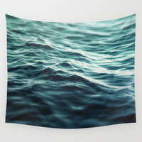 Dark Waters 3 - Wall Tapestry, Turquoise Blue Green Ocean Seascape Backdrop Accent Hanging, Beach Surf Style Tapestry. In Small Medium Large