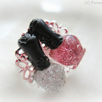 Nail polish lovers adjustable ring, kawaii jewelry, cute ring, gift for her
