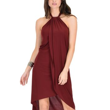 Lyss Loo Wrap Star Halter Burgundy Midi Wrap Dress