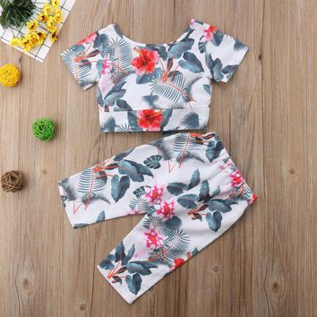 Newborn Toddler Baby Girl Crop Top T-shirt Long Pants Outfits Clothes Summer USA