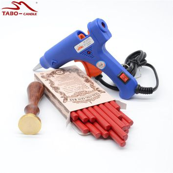 Retro Red Sealing Wax Stick with Custom Made Stamp 20W Flexible Hot Glue Gun Included for Your Wedding Invitation Decoration