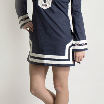 Tunic Dress Nantucket Navy with American Flag Bow Trim
