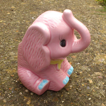 Pink Ceramic Baby Elephant Planter - Cute and Kitsch Decor for a Nursery or Child's Room