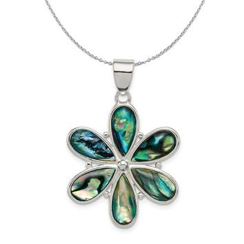 Sterling Silver and Abalone 25mm Flower Necklace