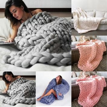 80*100cm Hand Chunky Knitted Blanket Thick Wool Bulky Knitting Throw 6 Colors