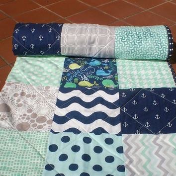 Nautical baby quilt,Modern patchwork crib quilt,baby boy bedding,navy blue,grey,mint green,whales,anchors,chevron,toddler,Nautical Laddy