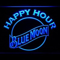 Blue Moon Beer Happy Hour Bar LED Neon Light Sign Man Cave 628-B