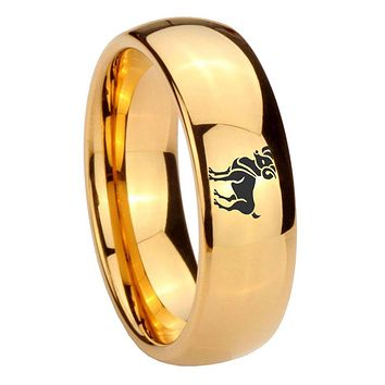 10mm Aries Zodiac Horoscope Dome Gold Tungsten Carbide Men's Promise Rings