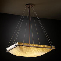 Justice Design Group CLD-9797-25-DBRZ-LED-6000 Clouds 48-Inch Square Bowl 6000 Lumen LED Pendant with Ring