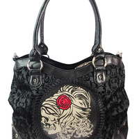 Gothic Flocked Skull Cameo Skull Lady Rose Black Handbag