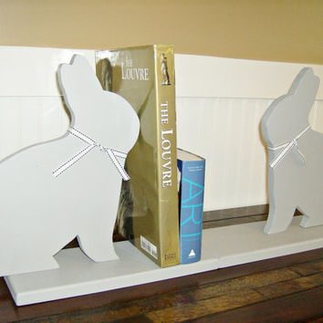 Pair of Bookends GRANITE GREY Wooden Bunny Rabbit country cottage decor