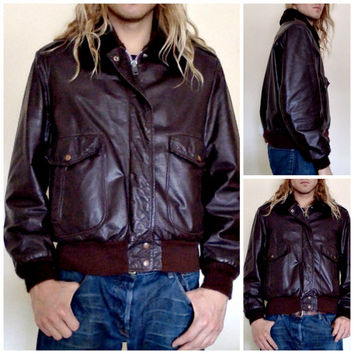 Vintage Angel Skin Bomber Jacket by Grais - Nappa Leather w/ Faux Fur Lining, Collar - Dark Brown - Aviator Military - Mens Size 44 (L)