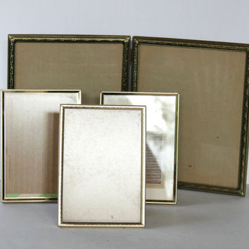 "Vintage Lot (4) of Gold Metal Engraved Picture Frames 5 x 7's & Double Hinged 10.5"" x 8.5"" , Retro Picture Frame Lot , Stand Up Frames"