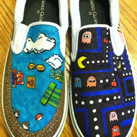 Personalized Customized Cartoon 8-bit Nintendo Designed Trendy Hand Drawn Canvas Shoes
