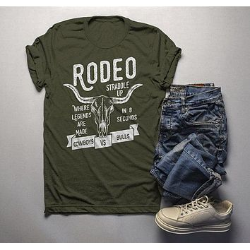 Men's Rodeo T Shirt Cowboys Vs. Bulls Shirt Vintage Cow Skull Graphic Tee Straddle Up