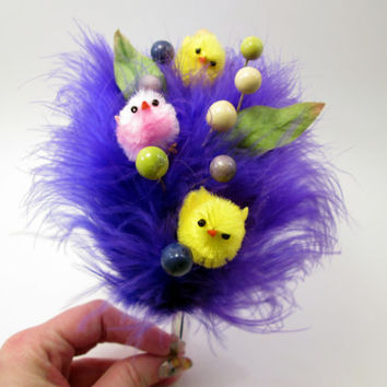 Violet Easter Chick Fascinator - Whimsical Spring Headband - photo prop - Hop - Pink and Yellow Peeps - Lime and purple berries